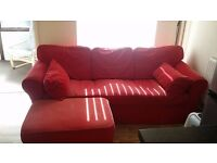 RED MODERN FABRIC 3 SEATER SOFA & FOOTSTOOL - QUICK SALE! - £45 ono