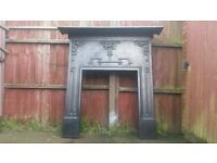 VERY LARGE ORIGINAL ANTIQUE CAST IRON ART NOUVEAU FIREPLACE SURROUND.