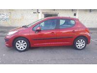2007 Peugeot 207 1.4 16valve 5 door hatchback Red.