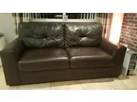 2 Seater Quality Chocolate Leather Sofa