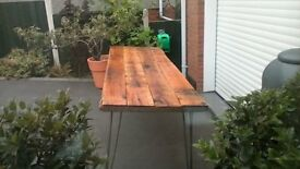 RUSTIC OAK PLANK TABLE WORK BENCH WITH STEEL HAIPIN LEGS