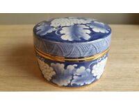 Porcelain Box/ Jar / Dish : 20th century ...Blue & White Coloured Floral