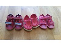 Girl Clarks sandals and crocs (Size 4) x 3 pairs