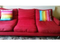 Sofa in red fabric of dfs