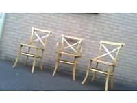 3 bergere dining chairs