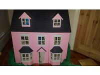Wooden dolls house with furnitures,garden, out buildings, farm and family with pets