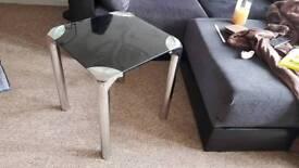 Glass Top Side Table Black Chrome