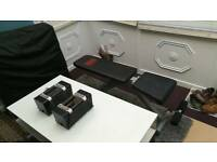 Power Blocks (adjustable dumbbells) with Exercise Bench