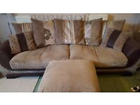 3 piece sofa - 4 seater, 3 seater and foot stool.
