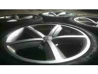 "GENUINE AUDI 18"" SLINE ALLOY WHEELS & TYRES 5X112 A4 A5 S5 A6 TT VW MERCEDES"