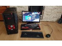 Gaming pc with monitor gaming keyboard and mouse