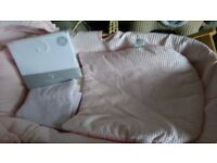 Pink Claire de lune moses basket with stand and two pink cellular blankets and new sheets