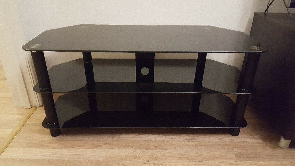 TV stand - black glass, with 2 lower shelves and cable tidy