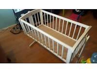 Mothercare White Swinging baby crib, inc matress