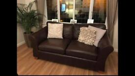 Abbey Brown Leather Sofa x 2