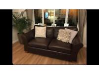 M&S Abbey Brown Leather Sofa x 2