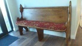 "GENUINE VINTAGE CHURCH PEW,W-57 H-37"" D-19"" BEAUTIFUL PIECE....BARGAIN FOR SUCH AN UNUSUAL ITEM"
