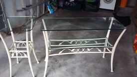 Glass Hall table and matching glass plat table