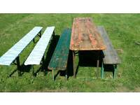 German beer garden folding table and benches
