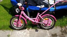 16-Inch girl bike with stabilisers and balance handle
