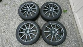 "Rial Milano 17"" alloy wheels set with Falken Eurowinter HS 449 tyres."