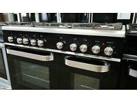 Black 90 cm Kenwood Dual Fuel 5 Burners Range Cooker(3months old)