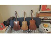 3 antique guitars