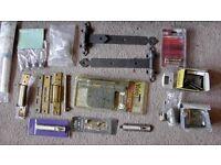 Door Yale locks with keys, hinges, knobs job lot, some in unused in original packaging.