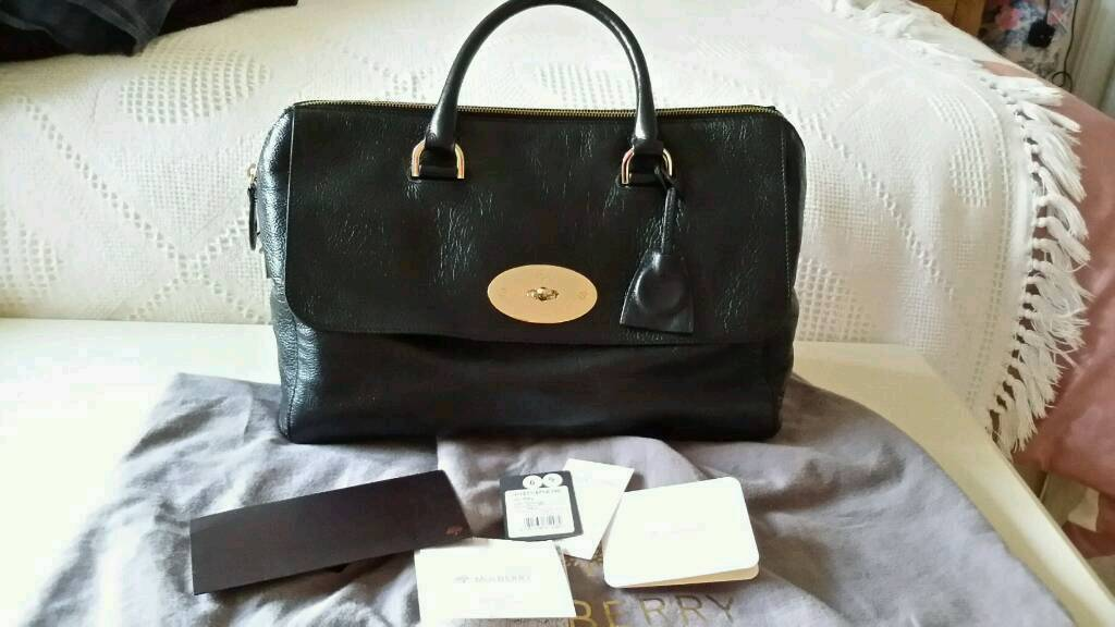 GENUINE MULBERRY DEL REY BAG IN BLACK SPONGY LEATHER with receipt 3642a5e9e6435