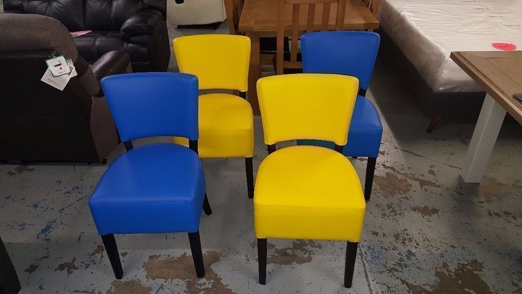4 NEW MEMPHIS Faux Leather Dining Chairs 2 YELLOW 2 BLUE Free Delivery Derby Nottingham