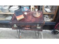 Leather suitcase table