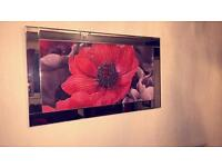 Poppy photo frame and a black high gloss unit with lights