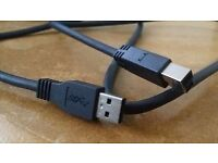 Dell 1.0m USB 3.0 SuperSpeed Cable Type Plug A to Type B Plug