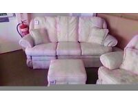 GREAT CONDITION! white/cream fabric reclining 3 seater , 2 seater also reclining and ottoman storage