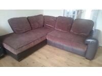 Faux Leather Brown Corner Sofa