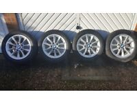 BMW alloy wheels with run flat Continental Winter tyres min 5mm tread. Minor damage one alloy.