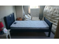 Blue Single bed with Mattress / Good Condition/ Free delivery available