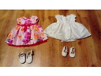Baby party dresses and shoes- various sizes
