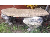 Antique Stone Lion Curved Bench