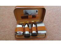 Mens Soft Brown Leather Shaving/Toilet Case Kit