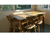 Chunky pine dining table and 4 chairs