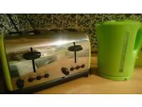 Lime green four slice toaster and green electric kettle