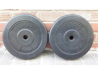 T n P 10KG x 2 WEIGHT PLATES - 1 inch holes