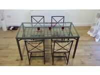 Glass Topped Table & 4 Chairs - Excellent condition, ideal for kitchen diner.