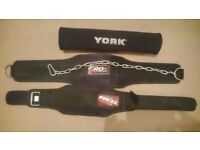 Weightlifting Belt, Dipping Belt & Barbell Pad.