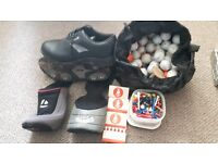 Golf equipment size 11 slazenger shoes balls tee's and 2 club covers
