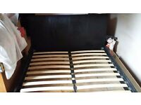 King size leather bed (not faux leather ). Good condition with 2 slats missing, easily assembly.
