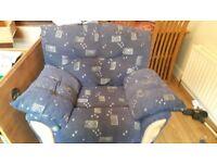 Blue fabric armchair