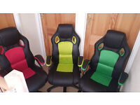 New Racing Sport Bucket Computer Desk Gaming Office Chair Seat Faux Leather