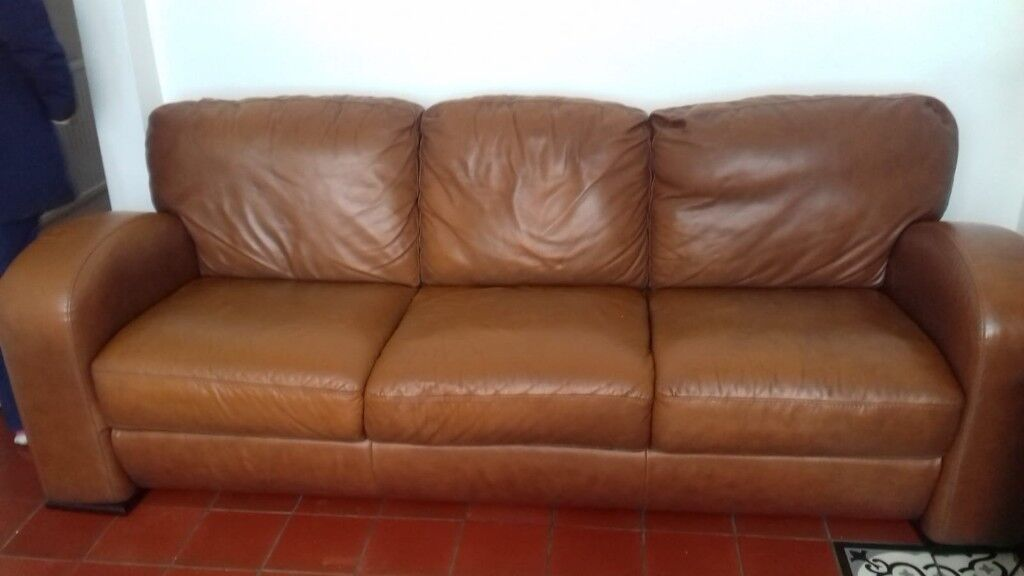 Sofa large leather tan great condition